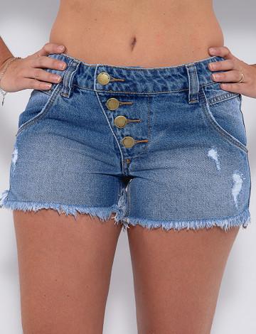 Shorts Jeans Atacado Boyfriend Feminino Revanche Jeanice Azul Detalhe