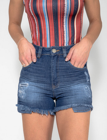 Shorts Jeans Atacado Cintura Alta Feminino Revanche Basse Azul Zoom