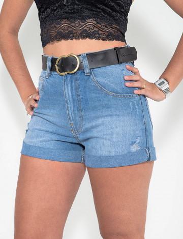 Shorts jeans Atacado Com Cinto Feminino Revanche Paraguay Frente