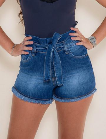 Shorts Jeans Atacado Cós Duplo Feminino Revanche Portovila Azul Frente