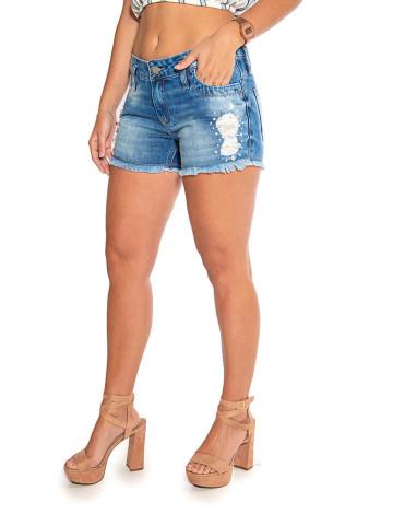 Shorts Jeans Atacado Destroyed Feminino Revanche Proença Frente