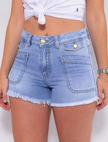 Shorts Jeans Atacado Feminino Revanche Abella Azul Frente Detalhe