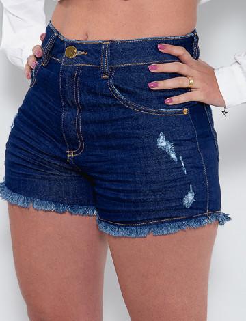 Shorts Jeans Atacado Feminino Revanche Chantal Azul Detalhe