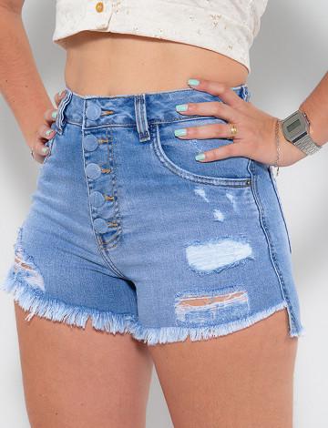 Shorts Jeans Atacado Feminino Revanche Domenique Azul Detalhe