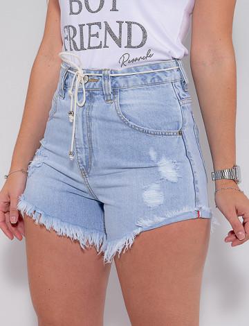 Shorts Jeans Atacado Feminino Revanche Evelia Azul Detalhe Frente