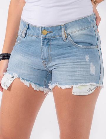 Shorts Jeans Atacado Forro Aparente Feminino Revanche Moresby Azul Frente