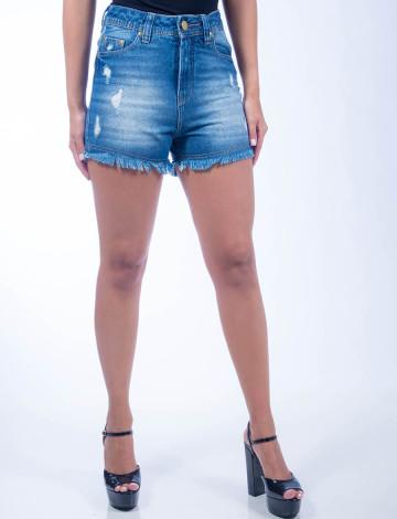 Shorts Jeans Atacado Hot Pants Barra Desfiada Feminino Revanche Valeta  Azul Frente