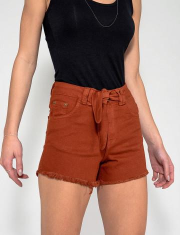 Shorts Jeans Atacado c/ Laço Feminino Revanche Zimbábue Telha Frente