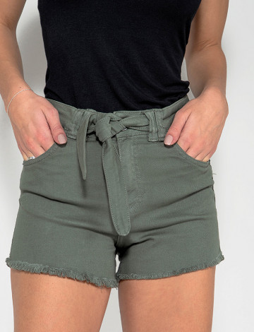 Shorts Jeans Atacado c/ Laço Feminino Revanche Zimbábue Verde Frente