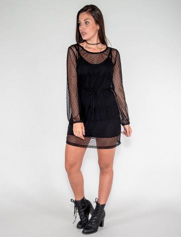 Vestido Atacado c/ Tule Feminino Revanche Jerusalém Preto Look