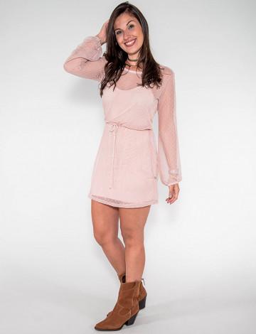 Vestido Atacado c/ Tule Feminino Revanche Jerusalém Rosa Claro Frente