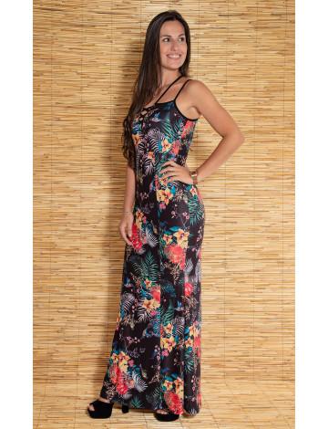 Vestido Atacado Floral Longo de Alcinha Revanche Bolonha Preto Frente