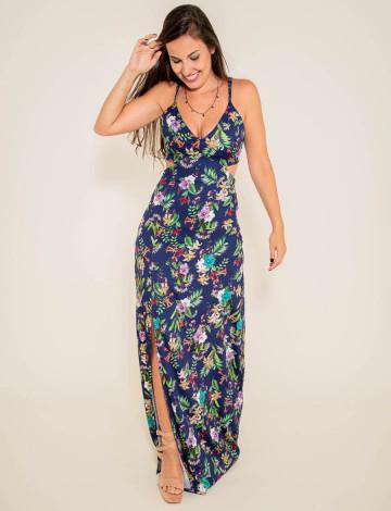 Vestido Atacado Floral Longo Feminino Revanche Tallen azul frente