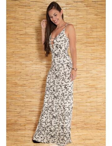 Vestido Longo Atacado Floral Revanche San Antonio II Off-White Frente
