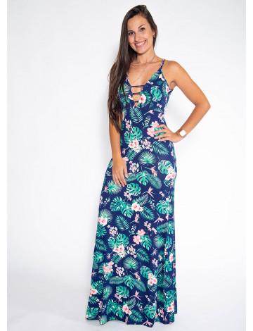 Vestido Longo Atacado Floral Revanche San Antonio Azul Marinho Frente