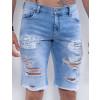 Bermuda Jeans Atacado Masculina Revanche Coréia do Sul Azul Detalhe