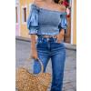 Blusa Jeans Atacado Cropped Feminina Revanche Marlene Azul Detalhe Frente