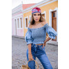 Blusa Jeans Atacado Cropped Feminina Revanche Marlene Azul Frente