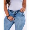 Calça Jeans Atacado Cigarrete c/ Bolso Faca e Laço Feminina Revanche Reggia II Azul Detalhe