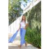 Calça Jeans Atacado Cropped Feminina Revanche Nádia Azul Lateral