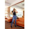 Calça Jeans Atacado Fit Belt Feminina Revanche Beatrice Azul Look