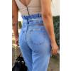 Calça Jeans Atacado Mom Feminina Revanche Tasha Azul Detalhe Costas