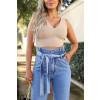 Calça Jeans Atacado Mom Feminina Revanche Tasha Azul Detalhe Frente