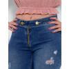Calça Jeans Atacado Cigarrete Feminina Revanche Clarette Azul Detalhe