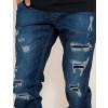 Calças Jeans Atacado Destroyed Escura Masculino Revanche Foggia Azul Detalhes