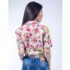 Camisa Atacado Estampada Manga Curta Feminina Revanche Summer Havai Branco Costas