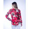 Camisa Atacado M/L Estampada com Ilhós Feminina Revanche Lobamba Vermelho Costas