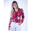 Camisa Atacado M/L Estampada com Ilhós Feminina Revanche Lobamba Vermelho Frente