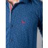Camisa Atacado Manga Longa Microestampada Masculino Revanche Austin Azul Marinho Padrão Detalhe