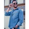 Camisa Jeans Manga Longa Atacado Masculina Revanche Irã Azul Lateral