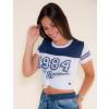Camiseta Atacado c/ Recorte Feminino Revanche Old 1984 Branca Frente
