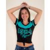 Camiseta Atacado c/ Recorte Feminino Revanche Old 1984 Preta Frente
