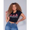 Camiseta Atacado Com Estampa Feminina Revanche Letónia Preto Frente