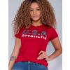 Camiseta Atacado Com Estampa Feminina Revanche Letónia Vermelho Detalhe Frente