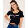 Camiseta Atacado Estampa Feminina Revanche Love is Free Preto