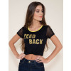 Camiseta Atacado Estampa Amarela Feminina Revanche Feed Back Preta Frente