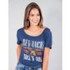 Camiseta Atacado Estampada Feminino Revanche Rock&Roll Azul Marinho Frente
