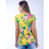 Camiseta Atacado Floral com Estampa Feminina Revanche Modele Amarela Costas