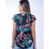 Camiseta Atacado Floral com Estampa Feminina Revanche Modele Preta Costas
