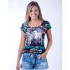 Camiseta Atacado Floral com Estampa Feminina Revanche Modele Preta Frente