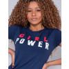 Camiseta Atacado Girl Power Feminina Revanche Therese Azul Marinho Detalhe Frente