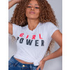Camiseta Atacado Girl Power Feminina Revanche Therese Branco Detalhe Frente