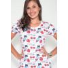 Camiseta Atacado Manga Curta Feminino Revanche Strawbercat Branco Zoom