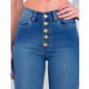 Calça Jeans Atacado Cigarrete com Cinta Feminina Revanche Fit Belt Rainier Azul Detalhe