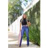 Calça Jeans Atacado Flare Cut Out Pocket Feminina Revanche Tâmara Azul Look