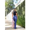 Calça Jeans Atacado Flare Cut Out Pocket Feminina Revanche Tâmara Azul Costas